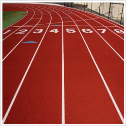 Red running track with white lanes labeled 1 through 8