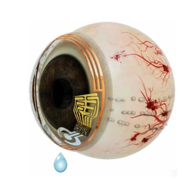 An eyeball with a contact lens with electrodes