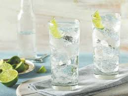 Two glasses of iced bubbly beverage