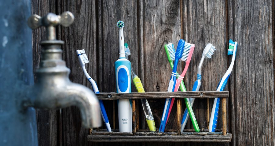 Toothbrushes of different colors and shapes