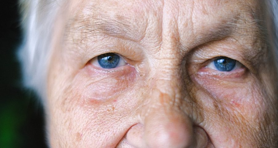 Elder person upper face looking at the camera