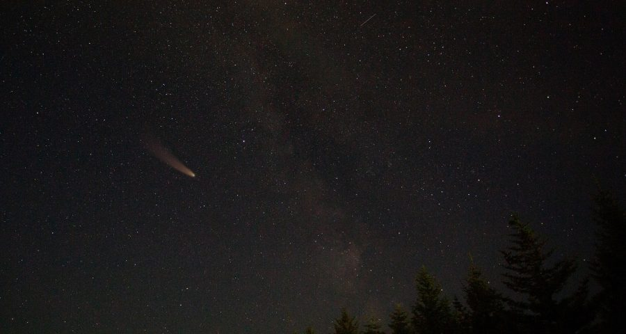 Asteroid passing next to the milky way