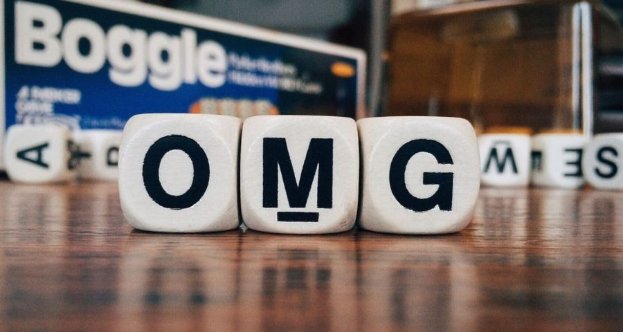Cubes spelling O-M-G.