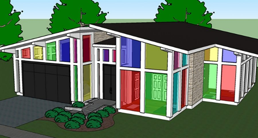 A conceptual picture of a house with the windows made of the material proposed in the study.