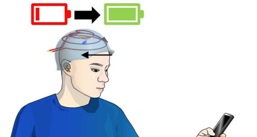 Schematic shows a man with the wireless recharging battery implanted in head