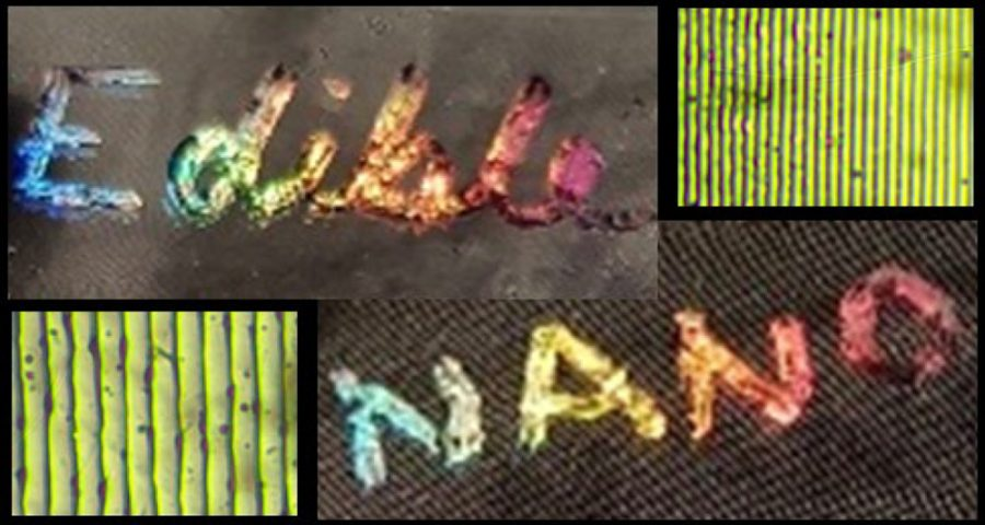 """The words """"Edible"""" and """"Nano"""" written using edible holographic material"""
