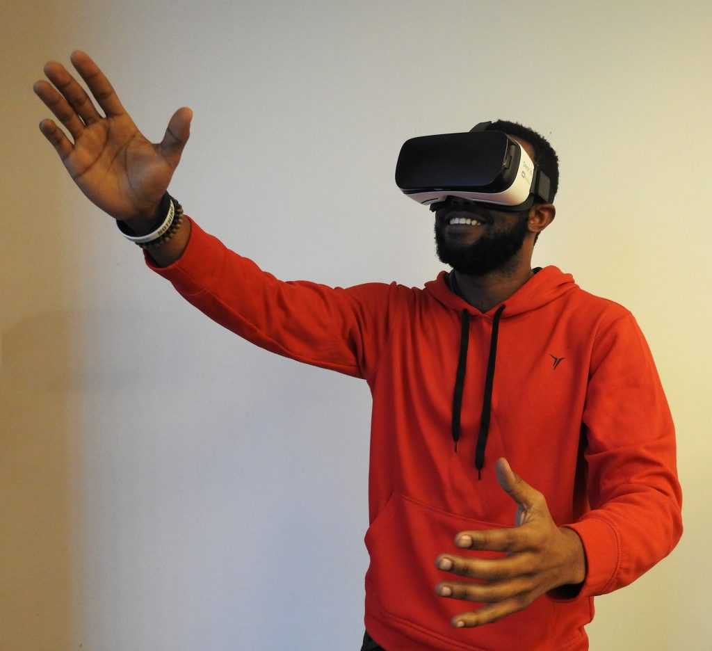Man with virtual reality headset.