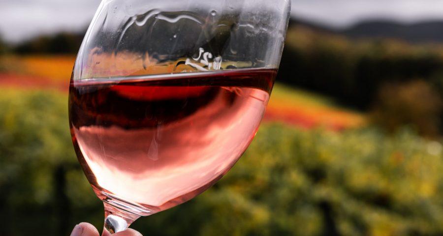 Wine in glass.