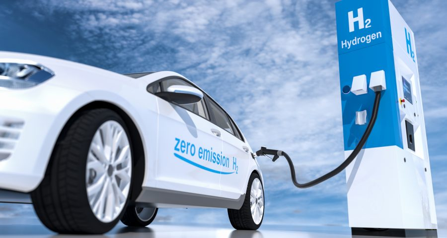 Hydrogen logo on gas stations fuel dispenser. h2 combustion engine for emission free ecofriendly transport. 3d rendering — Stock Image & Photo